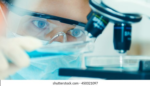 scientist with equipment and science experiments ,laboratory glassware containing chemical liquid for design or decorate science or other your content and selective focus - Shutterstock ID 450321097