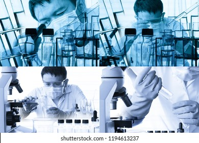 scientist with equipment and science experiments,Science background