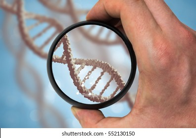 Scientist examines DNA molecule. Genetics research concept.