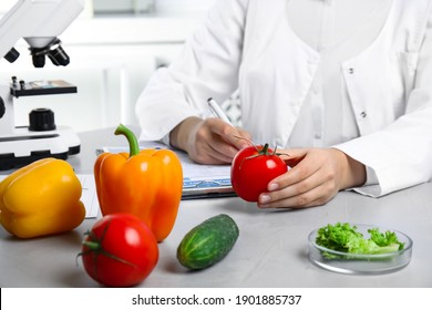 Scientist with fresh vegetables and clipboard at table in laboratory, closeup. Poison detection