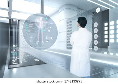 Scientist in futuristic laboratory investigating DNA genome and chromosome. Genetic biotech biochemistry experiments, human cloning. Digital healthcare and vaccine development. 3d render background.