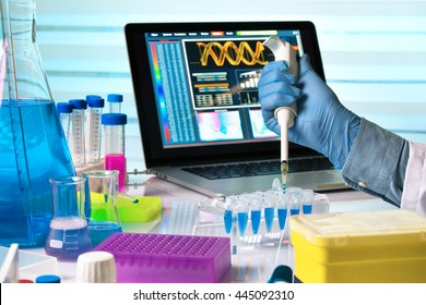 scientist holding dropper and working with laptop in genetics lab / researcher hands working with pipette and tubes in the laboratory table
