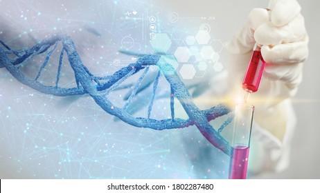 Scientist holding liquid biological sample