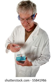 scientist injects syrum into vials for testing isolated on white
