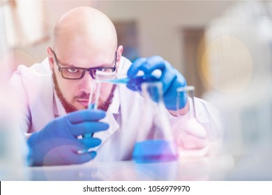 Scientist make chemical analyzes in the laboratory
