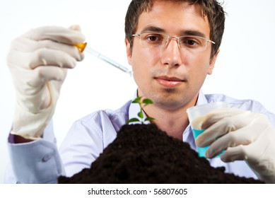 Scientist man working in laboratory  ,selective focus on man