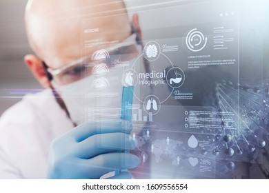 Scientist in mask and glasses working with microscope - Shutterstock ID 1609556554