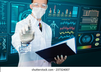 scientist pointing futuristic screen