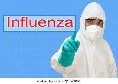 scientist pointing to word influenza
