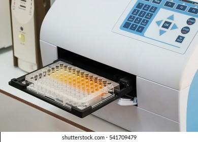 Scientist is putting ELISA plate to measure OD with micro plate reader, Selective Focus