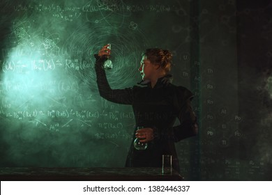 Scientist researcher with a flask of radioactive material. The study of radioactivity. Image in the style of Marie Curie, a famous scientist