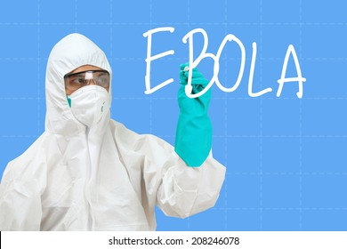 scientist in safety suit drawing word ebola