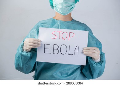 scientist in safety suit Hold stop ebola Ebola virus concept