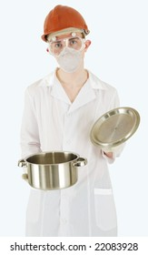 Scientist with saucepan in hands with surprised by facial expression