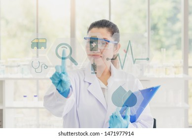 Scientist  with science health research icon show symbol of medical care technology innovation, medical care technology innovation concept.