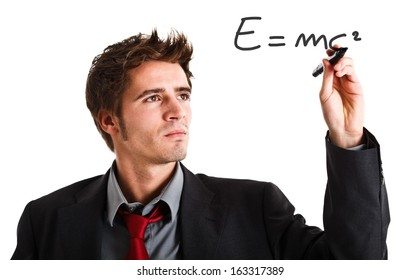 Scientist showing the relativity theory