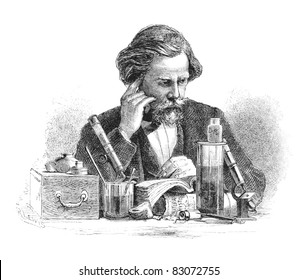 Scientist sitting at his desk. Engraving by unknown artist from Harper's Monthly Magazine, april 1876.