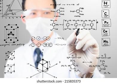 scientist sketching chemical formula