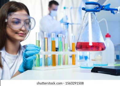 Scientist taking test tube from rack indoors. Laboratory analysis