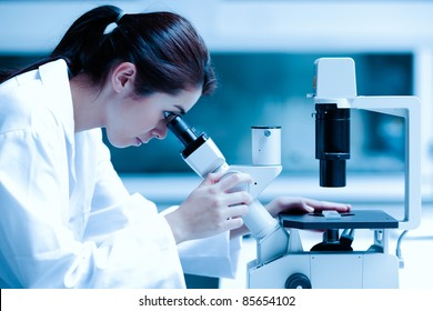 Scientist using a microscope in a laboratory