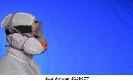 Scientist virologist in respirator. Man close up look, wearing protective medical mask. Concept health safety N1H1 coronavirus epidemic 2019 nCoV.