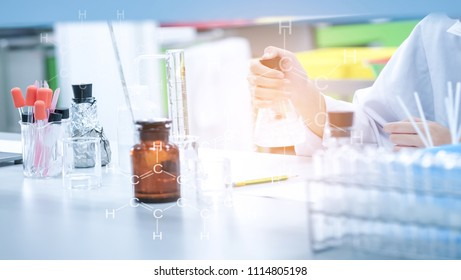 Scientist working at the laboratory with glassware. Scientist with titration instrument using dark incubation by iodine, starch for determine substrate concentration blending with benzene icon