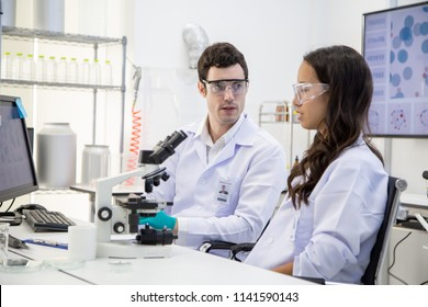 Scientists or chemists working in a laboratory together.