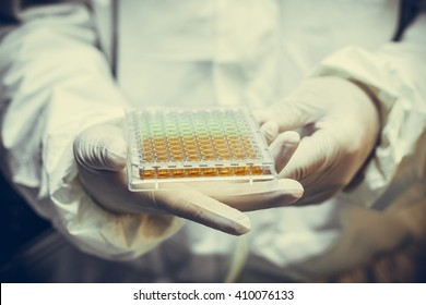 Scientists hold Various cell culture plates  so isolated in the laboratory.