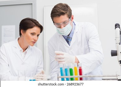 Scientists looking attentively at test tube in laboratory