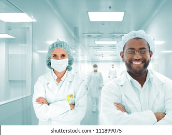 Scientists team at modern hospital lab, group of multiracial doctors