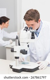 Scientists working with microscope and computer in laboratory
