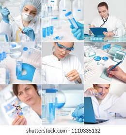 Scientists working in research facility or laboratory, set of nine pictures, including five portraits