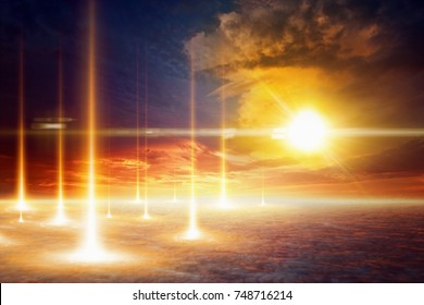 Sci-fi background - bright flash and mushroom cloud from nuclear bomb explosion, nuclear war, judgment day, end of world, teleportation to another world or dimension, secret scientific experiment