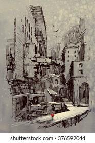 sci-fi cityscape,illustration painting