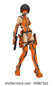 Sci-Fi girl surprise and loaded