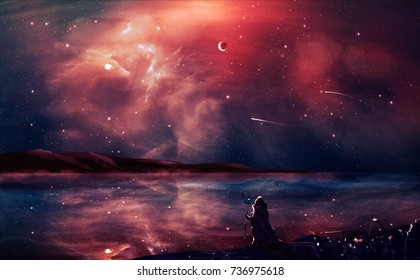 Sci-fi landscape digital painting with nebula, magician, planet, mountain and lake in red color. Elements furnished by NASA. 3D rendering