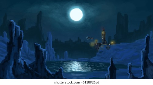 scifi moonlight landscape with mountains, a starship and a base
