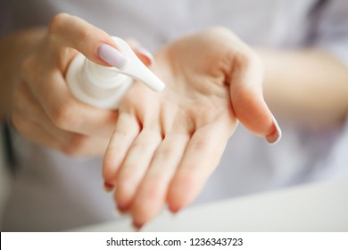 Scin Care. Scientist hands testing texture of beauty products.