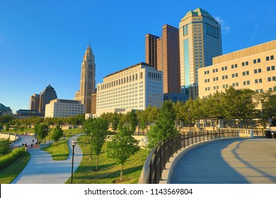 The Scioto Mile park in downtown Columbus, Ohio is a popular travel destination in this capital city in the midwest.