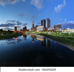Scioto River and Columbus Ohio skyline at John W. Galbreath Bicentennial Park at dusk
