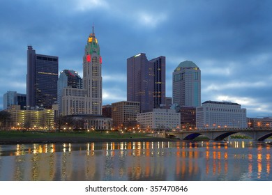 Scioto River and downtown Columbus Ohio skyline at dawn