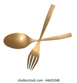 Scissor shape fork and spoon  illustration