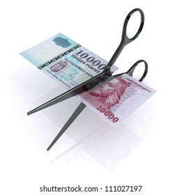 scissors cutting forint on white background, 3d illustration