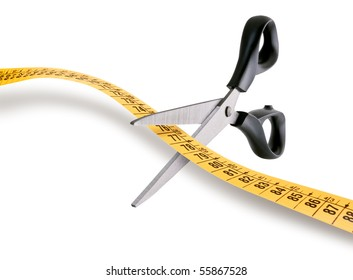 scissors cutting a measuring tape over white background