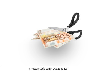 Scissors cutting money -Scissors to cut a 50 euro bill on white background, including clipping path