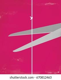 Scissors cutting a string