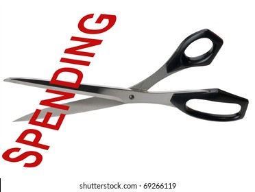 Scissors cutting the word spending as a metaphor