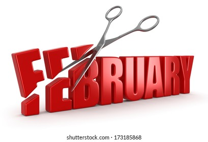 Scissors and february (clipping path included)