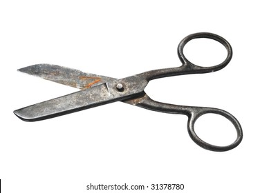 the scissors on the white background, macro