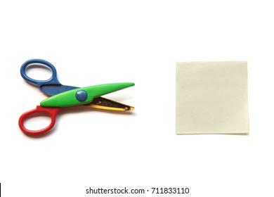 Scissors vs. Paper on White Background